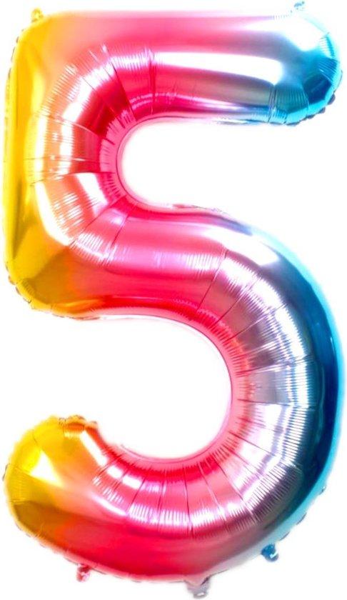 Folie Ballon Cijfer 5 Jaar Regenboog 70Cm Verjaardag Folieballon Met Rietje