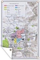 Illustratie van een kaart van Jeruzalem tuinposter 60x90 cm - Tuindoek / Buitencanvas / Schilderijen voor buiten (tuin decoratie)
