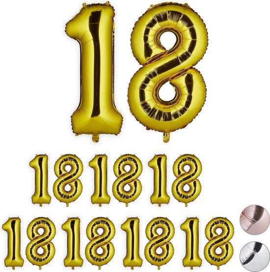 relaxdays 8x folieballon cijfer 18 - luchtballon - cijfer ballon - lucht   helium - goud