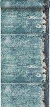 ESTAhome behang metalen platen turquoise en roest bruin - 138220