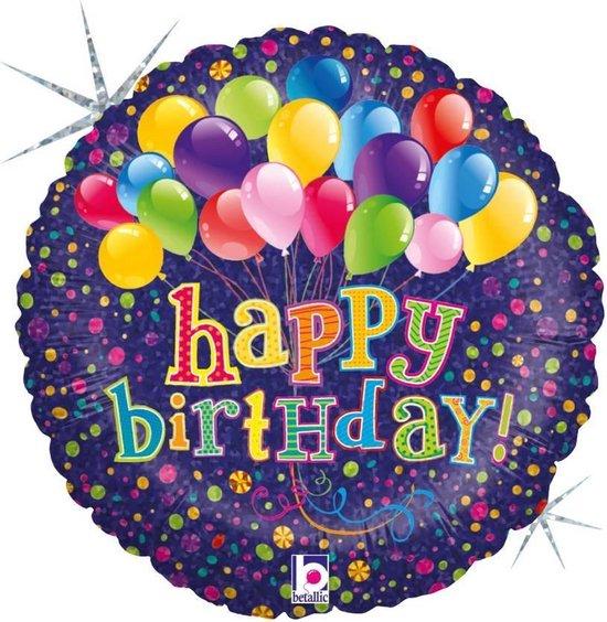 Folie cadeau sturen helium gevulde ballon Gefeliciteerd/Happy Birthday 46 cm - Folieballon verjaardag versturen/verzenden