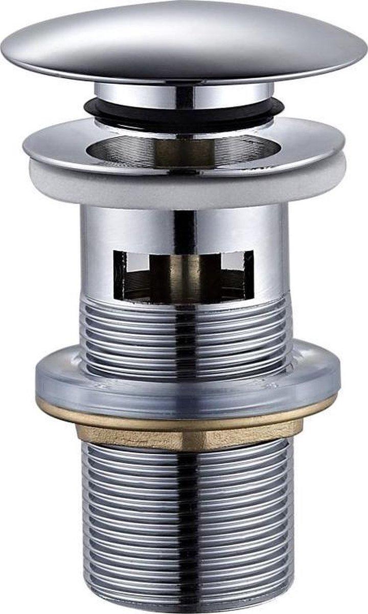 Sub 016 pop-up wastafelplug 1 1/4met lange schacht+overl, chroom