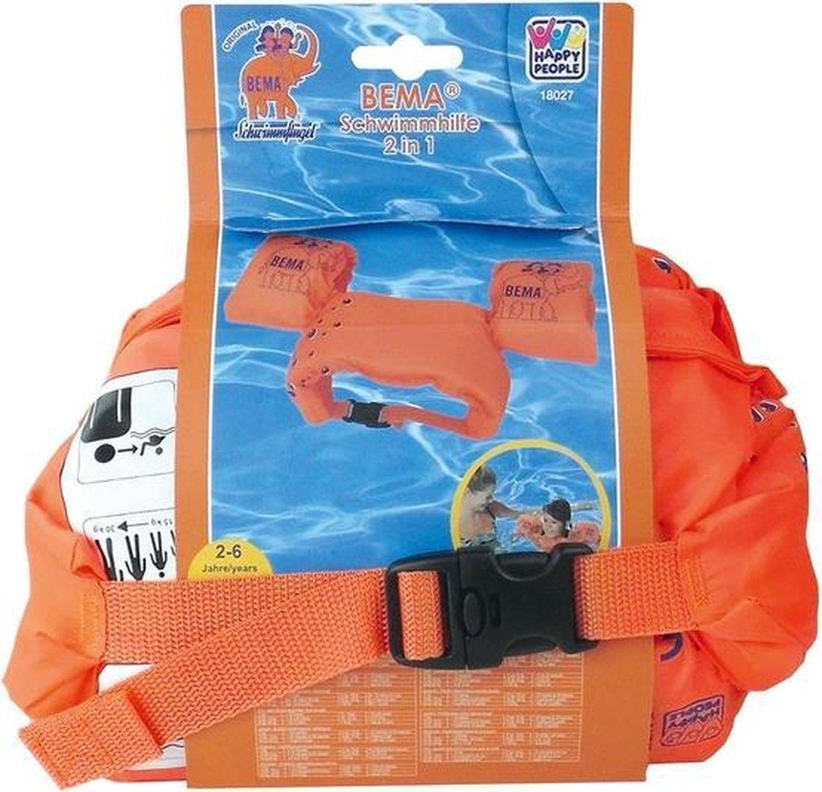 Zwemhulpmiddel 2-in-1 oranje zwemband met zwembandjes 15-30 kilo - Zwemhulpjes / zwemhulpmiddelen