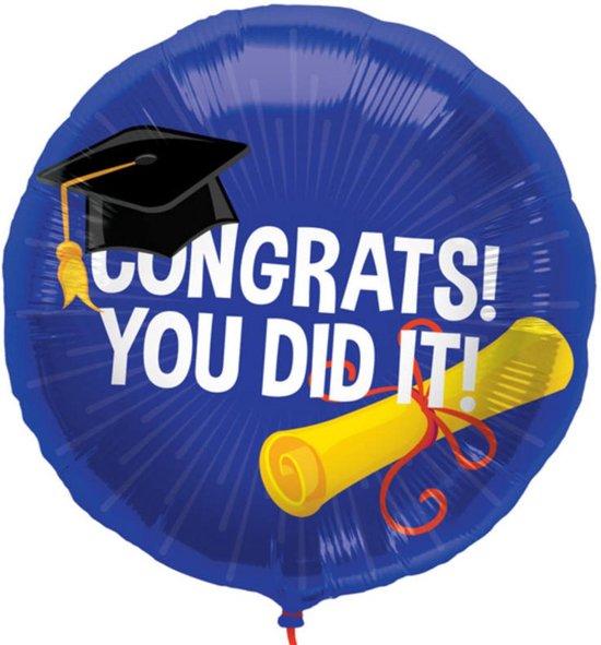 Folieballon - Geslaagd - Congratulations, you did it - 45cm - Zonder vulling