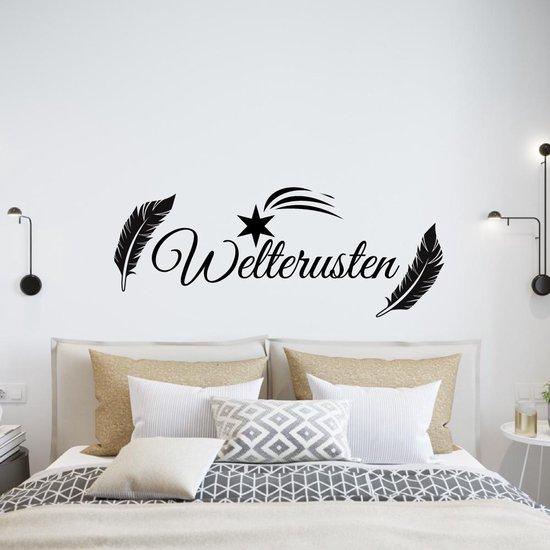 Muursticker Welterusten Veer En Sterren -  Zwart -  160 x 63 cm  - Muursticker4Sale