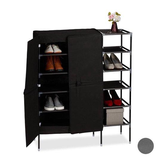 relaxdays schoenenkast stof - schoenenrek - schoenenopberger - halkast - schoenen opbergen zwart