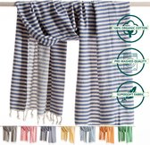 ANATURES Hamamdoek XL HOLIDAY 95x190 cm   Hamam strandlaken, Badlaken, Sauna handdoek, Fouta pareo, Yoga handdoek   Fair Trade – Biologische katoen   Denim Blauw