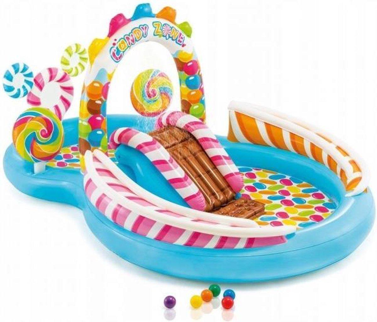 Opblaas peuter zwembad - snoep thema - met glijbaan
