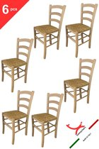 Tommychairs - Set van 6 klassieke stoelen model Venezia. Zeer geschikt voor keuken, bar en eetkamer, sterke structuur in gepolijst beukenhout, niet behandeld, 100% natuurlijk en zitting in stro