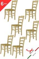 Tommychairs - Set van 6 klassieke stoelen model Cuore. Zeer geschikt voor keuken, bar en eetkamer, sterke structuur in gepolijst beukenhout, niet behandeld, 100% natuurlijk en zitting van stro