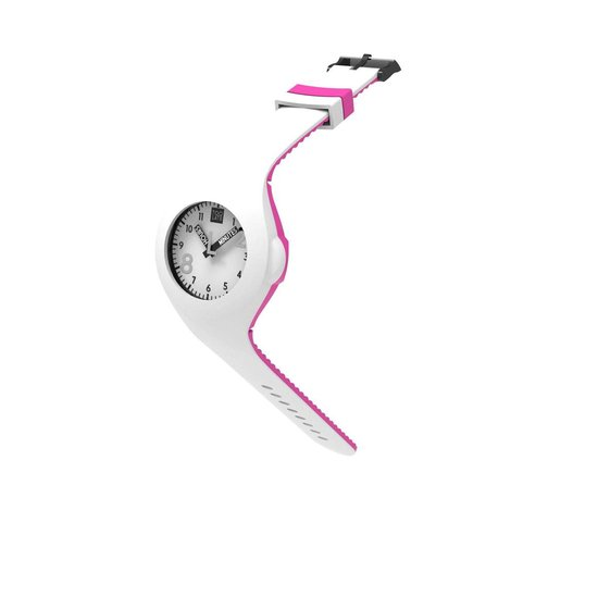 TOO LATE – siliconen horloge – MASH UP BICOLOR – Ø 40 mm – WHITE ACD PINK