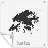 Een zwart-wit illustratie van de kaart van Hong Kong 50x50 cm