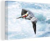 Een bruine pelikaan tijdens de vlucht over de schuimende zee 180x120 cm - Foto print op Canvas schilderij (Wanddecoratie woonkamer / slaapkamer) XXL / Groot formaat!