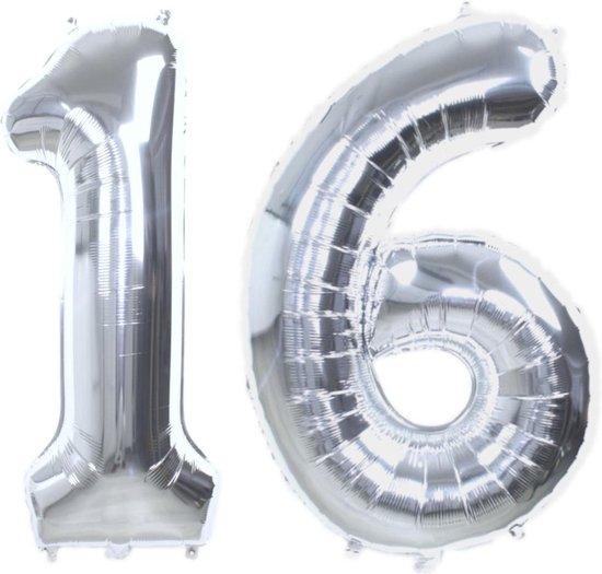 Folie Ballon Cijfer 16 Jaar Zilver 70Cm Verjaardag Folieballon Met Rietje