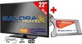 "Salora 22"" Travel TV 12/230 Volt Wifi + Canaldigitaal Cam701"