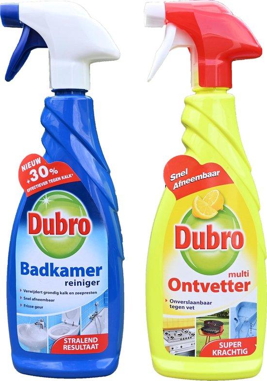 1 x Dubro badkamer reiniger + 1 x Dubro multi ontvetter (keuken, bbq, etc.) spray