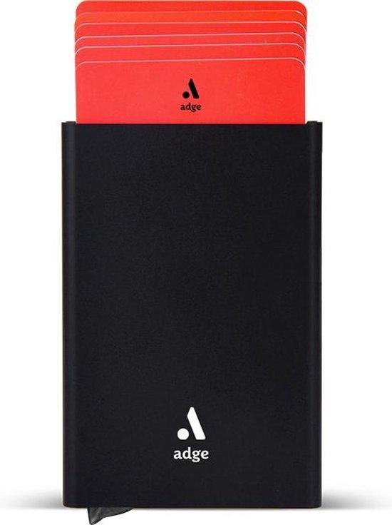 Adge Pasjeshouder - 7 tot 8 pasjes - Aluminium creditcardhouder antiskim - voor mannen en vrouwen - RFID (Zwart)