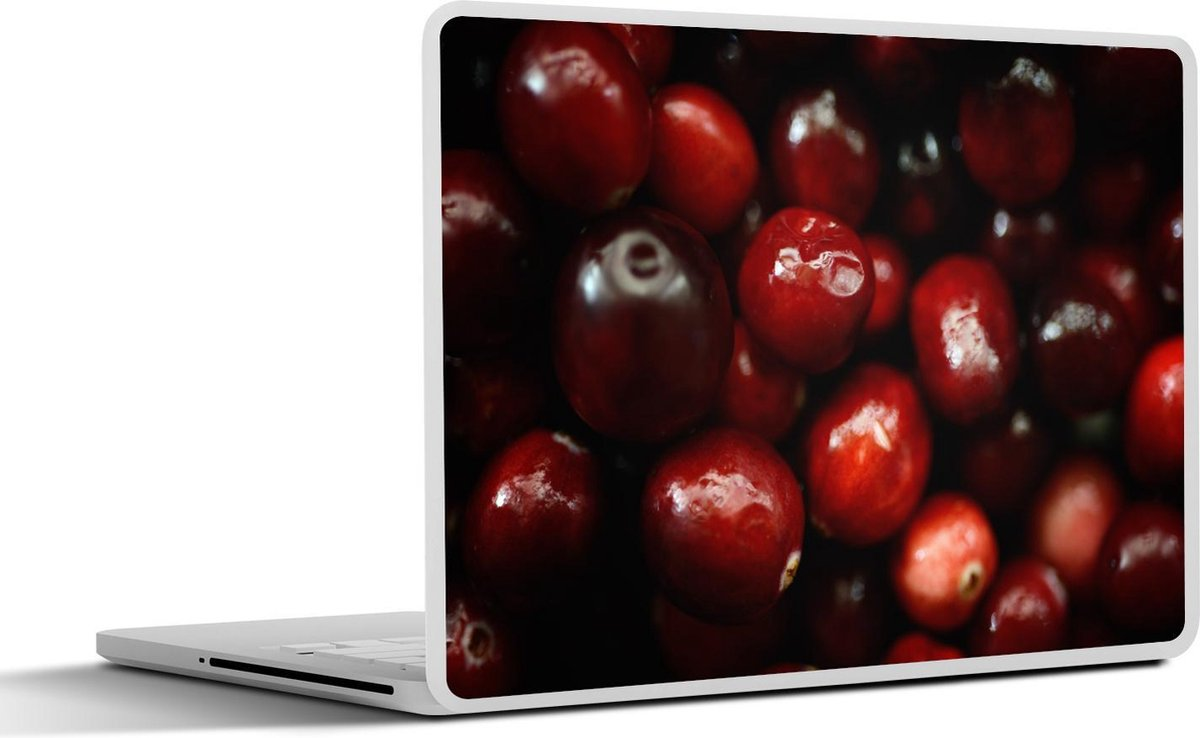 Laptop sticker - 10.1 inch - Donkerrode ranberry's in een donkere omgeving