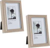 2x stuks fotolijstjes hout geschikt voor een foto van 10 x 15 cm - Fotolijstjes hangend en/of staand gebruik