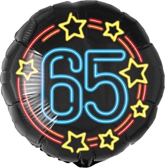 Helium Ballon 65 Jaar Neon 46cm leeg