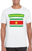 Suriname t-shirt met Surinaamse vlag wit heren 2XL