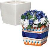 Vierkante porseleinen bloempotten waarmee kinderen creatieve decoratie kunnen ontwerpen (6 stuks per verpakking)