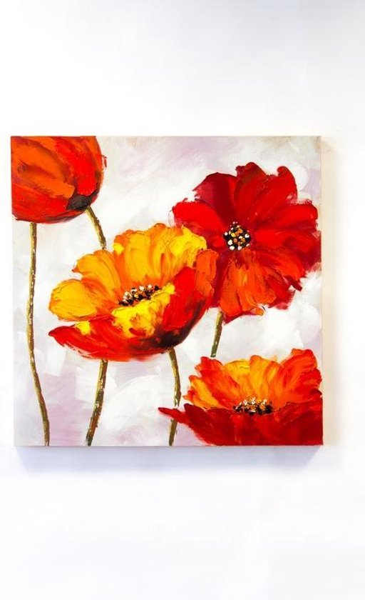 """Olieverf schilderij op doek 75 bij 75 cm. """"Bloemen rood/geel"""""""