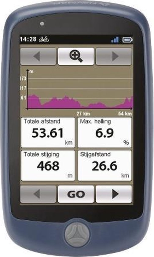 "Navman BIKE1000 navigator 8,89 cm (3.5"") Touchscreen Handheld/Fixed Zwart, Blauw 146 g"