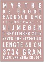 Geboorte tekstposter - oud roze - A3