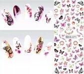 Nail art stickers vlinder butterfly + - 70 pcs nailart