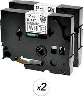 Compatibel voor Brother TZe-231 TZ 231 Zwart op wit labelprinter-tape 12mm x 8m voor P-Touch PT-1200, 2-Pack