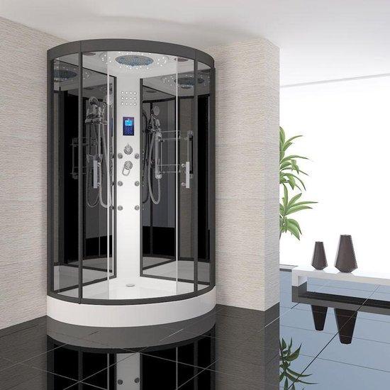 Douchecabine Aqua Diamond Kwartrond Schuifdeur 90x90x220cm Mengkraan Regendouche Massagejets LED Verlichting met Achterwand en Dak