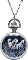 Treasure Trove® Witte Paarden Ketting Horloge - Kinderhorloge - Meisje - 76cm