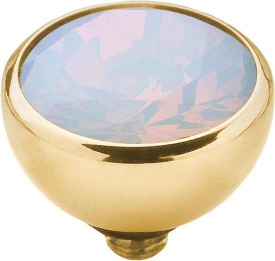 Melano twisted steen rond - goudkleurig + moonstone - dames - 8mm