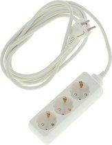 Stekkerdoos 3-voudig wit - 3 meter - Met randaarde - Witte stekkerdozen - Verlengsnoeren/verlengkabels