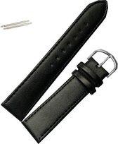 Fako Bijoux® - Horlogebandje - Echt Leer - 20mm - Zwart