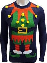 Foute Kersttrui Heren / Mannen - Christmas Sweater - Elf 3d Ballen - Kerst Trui Maat M