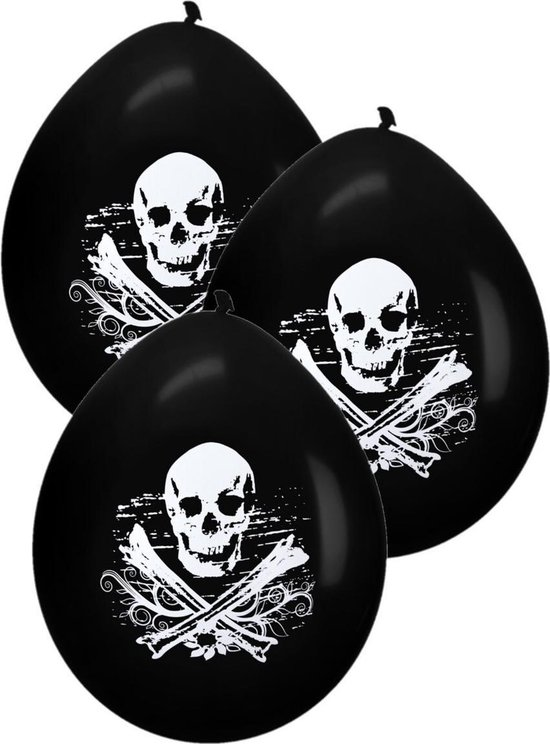 8x Horror doodskop ballonnen zwart 28 cm - Halloween thema versiering