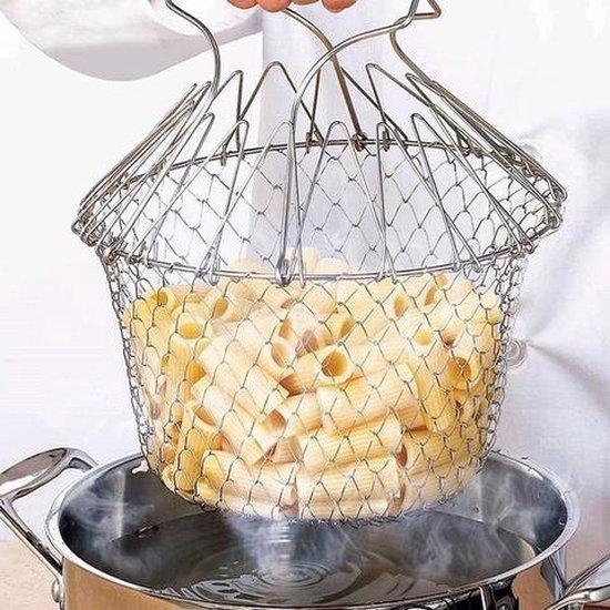 Chef kookmand - 12 in 1 keuken accessoire - Magic Kookmandje Opvouwbaar -  Metalen Stoommandje Fruitmand - Groente Stomer - Handheld Steamer - RVS