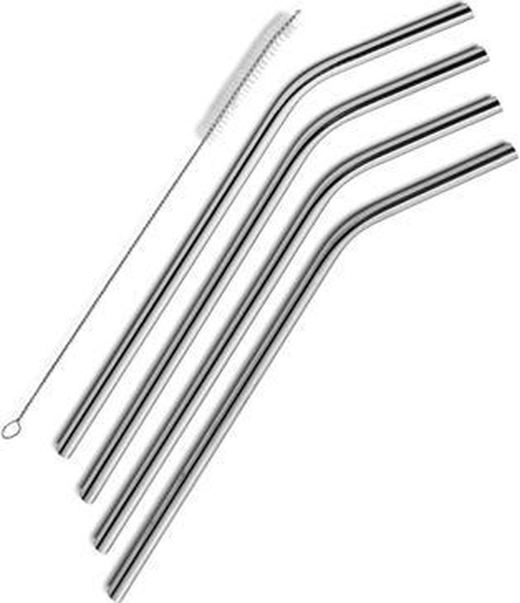 RVS/Metalen rietje - 4 stuks - 1 borsteltje - Ideaal Voor Warme En Koude Dranken - Herbruikbaar - Du