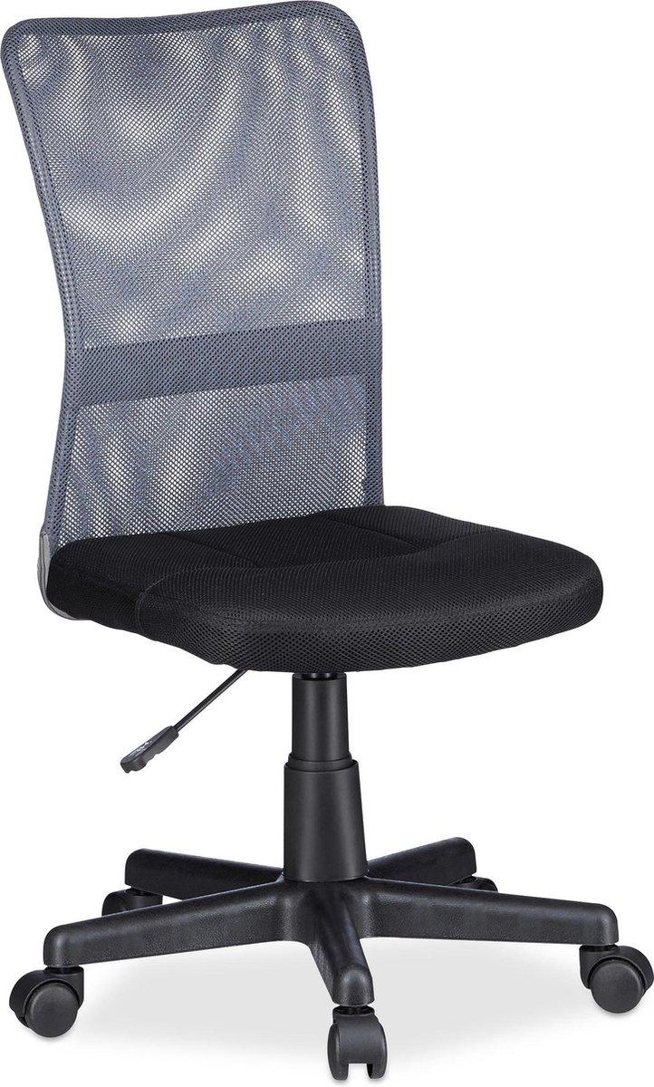 Relaxdays Bureaustoel voor kinderen - Ergonomisch - 90kg - Grijs