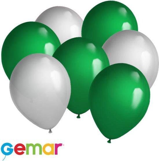 30x Ballonnen Zilver en Groen (Ook geschikt voor Helium)