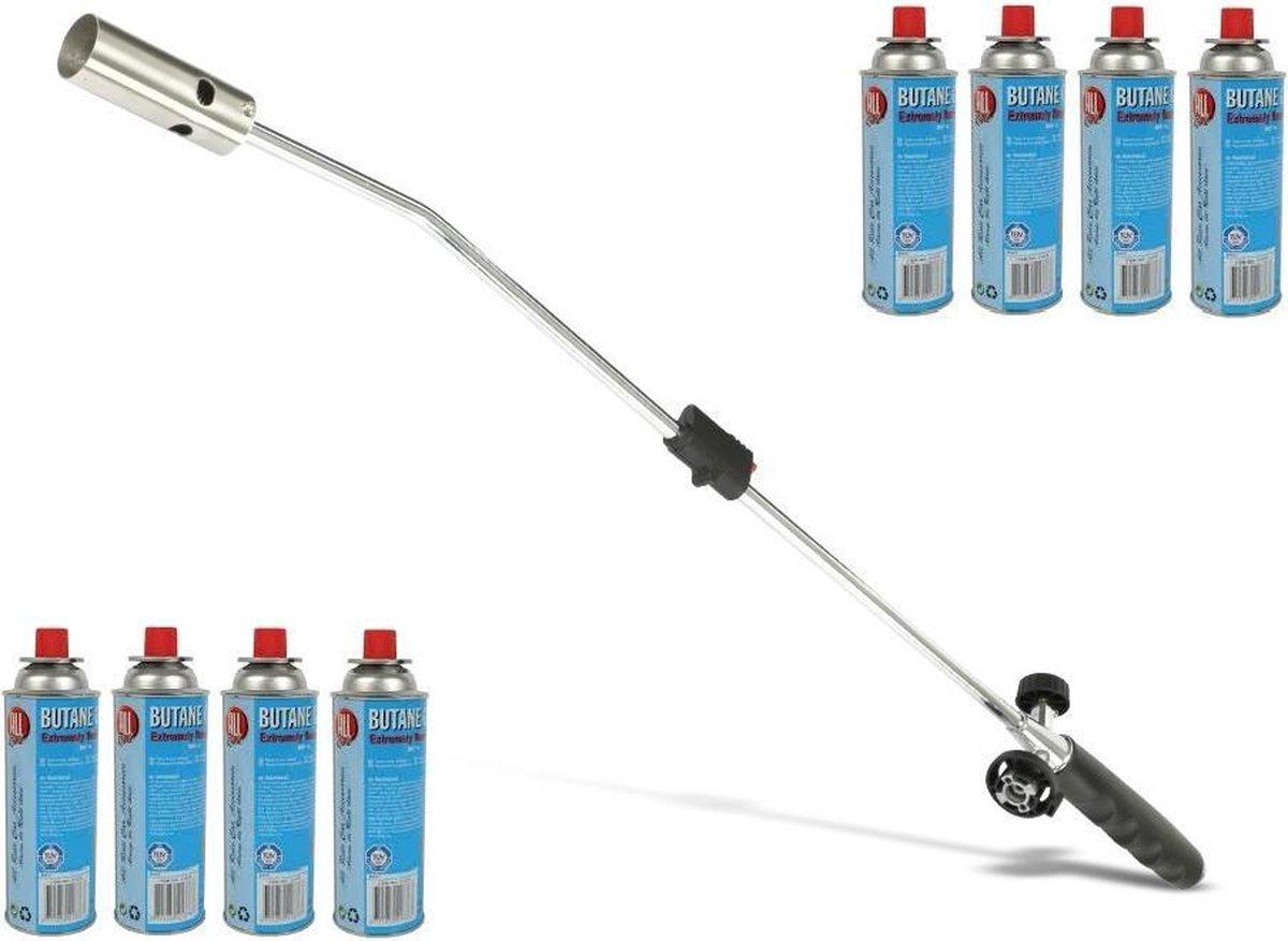Kinzo Onkruidbrander met Gasflessen - Regelbare gastoevoer - Inclusief 8 Gasflessen