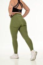 Flex sportlegging dames - squat proof, contour & high waist - army green/groen