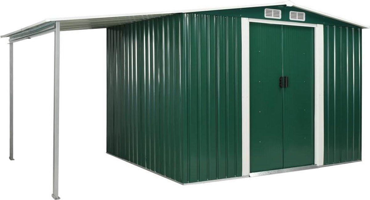 VidaXL Tuinschuur met schuifdeuren 386x205x178 cm staal groen online kopen