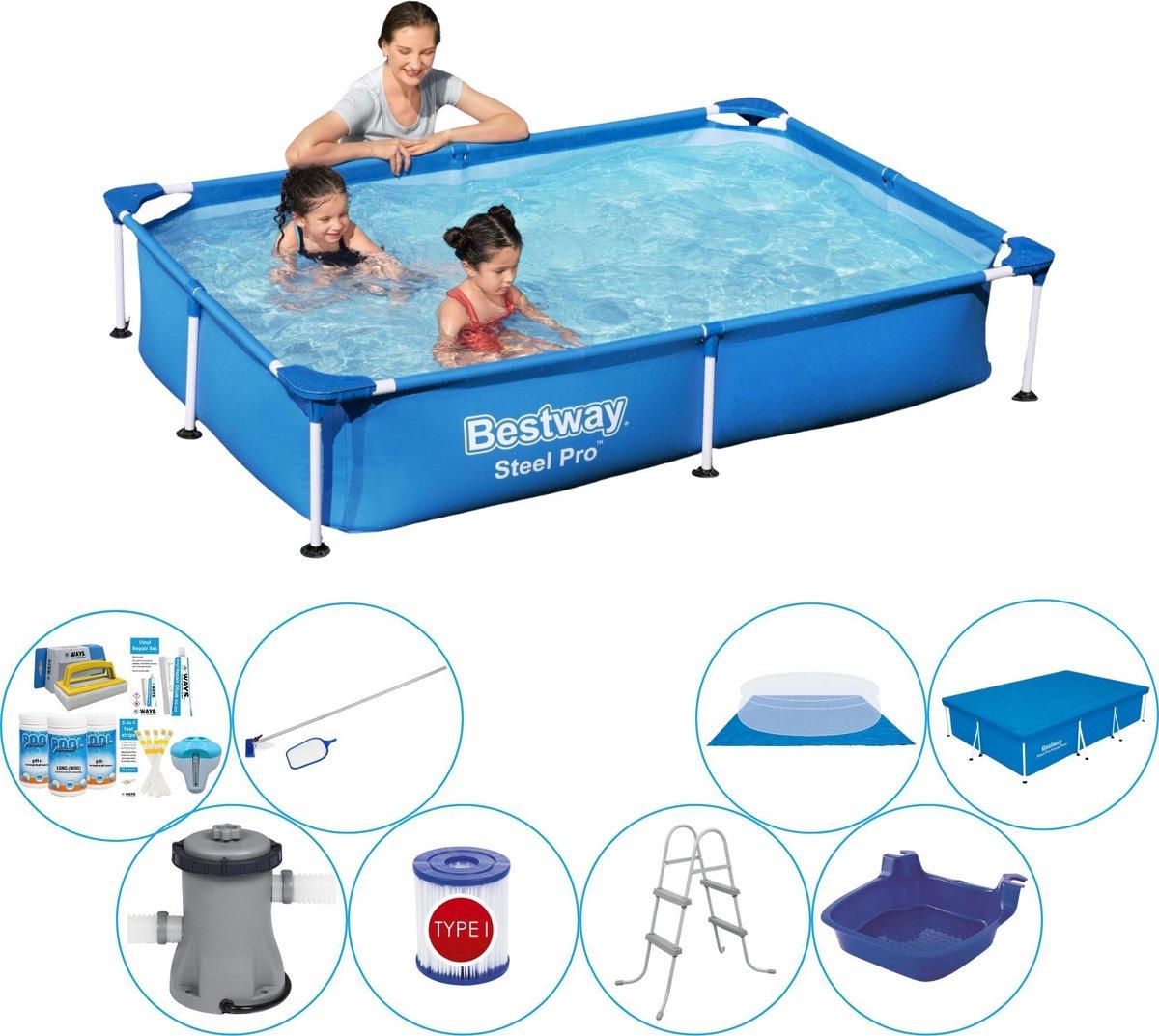 Bestway rechthoekig zwembad met pomp - 220 x 150 x 43 - inclusief onderhoudsset