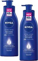 NIVEA Bodymilk  - 2 x 400 ml - 48h Intensieve Hydratatie With Moisturizing Serum - Voedend Voor Droge Huid - Met Pomp