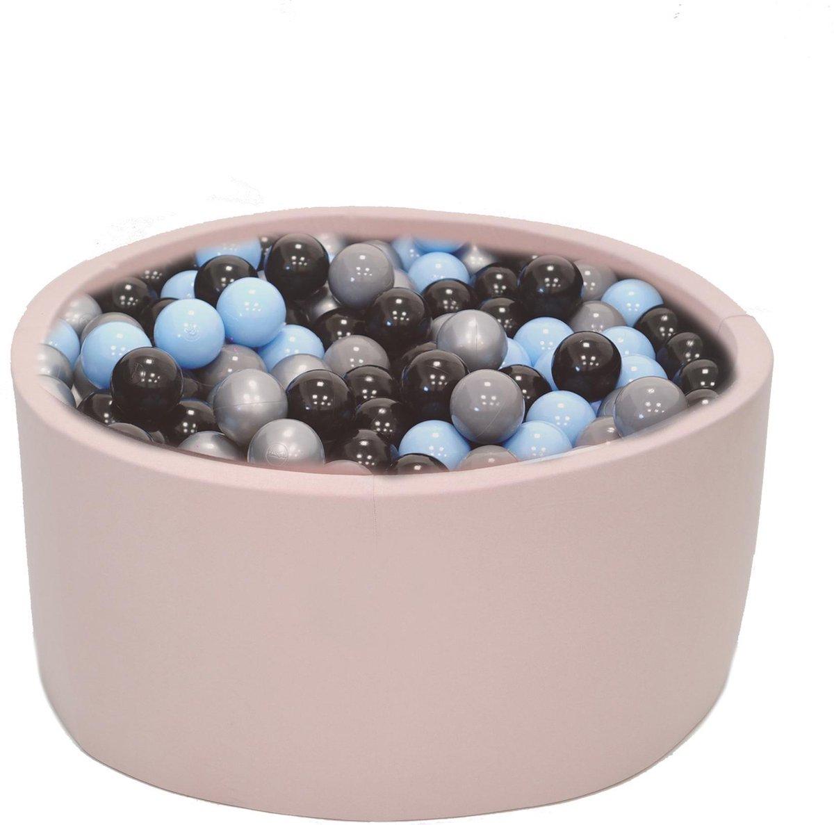 Ballenbak Roze 90x40 met 250 ballen Zilver, Babyblauw, Zwart
