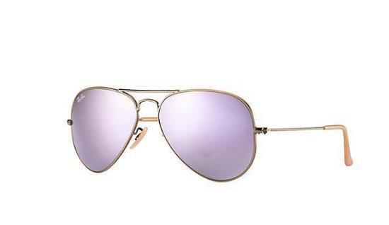 Sportbrillenshop - ##Ray-Ban Aviator Large Metal Bronze-Copper/ Lilac Mirror Polarized Maat: Medium (58) - Zonnebril -  - RB3025 167/1R