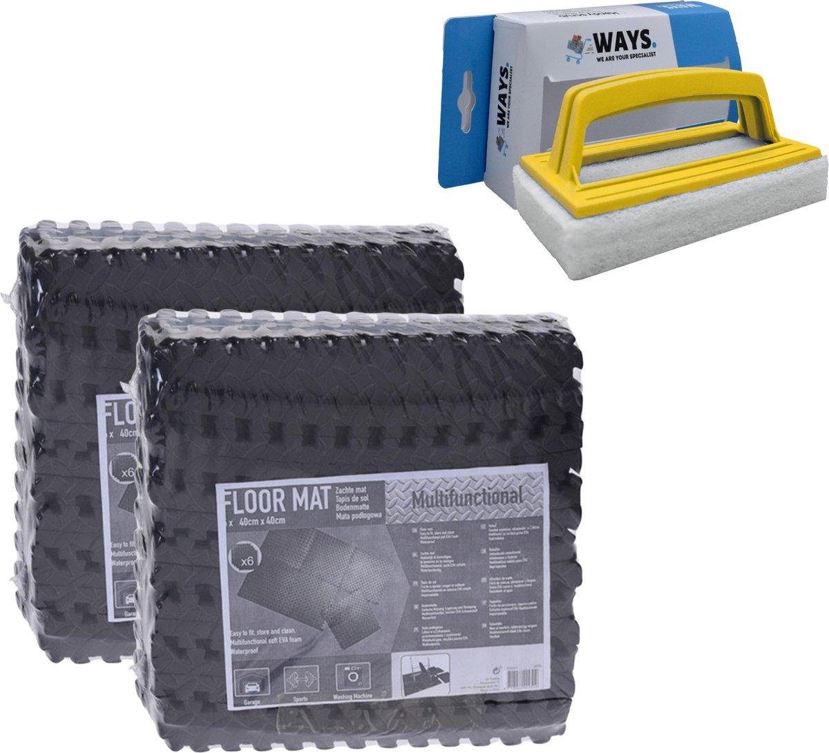 Zwembadtegels - Voordeelverpakking - 2 verpakkingen van 6 tegels - 40x40 cm & WAYS scrubborstel